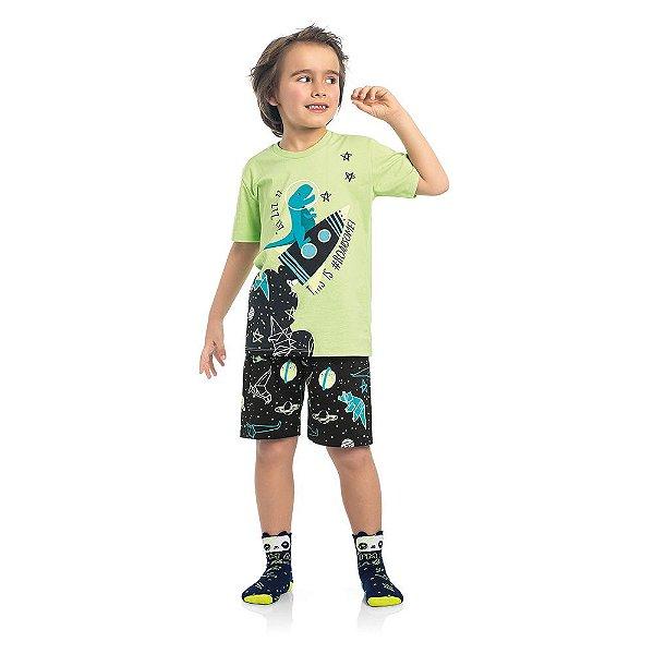 Pijama Infantil Kamylus Dino Brilha no Escuro