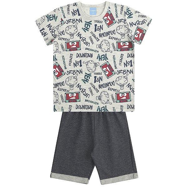 Conjunto Camiseta Estampada e Bermuda Old School