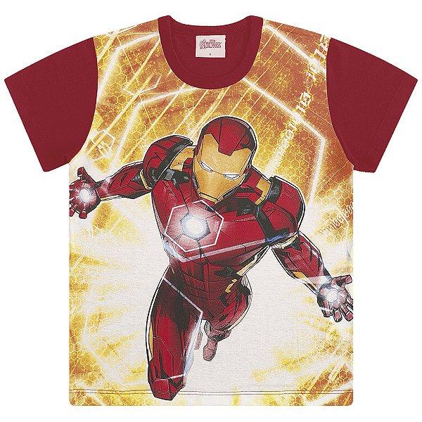 Camiseta Capitão América, Homem de Ferro e Thor em Ação - Vingadores