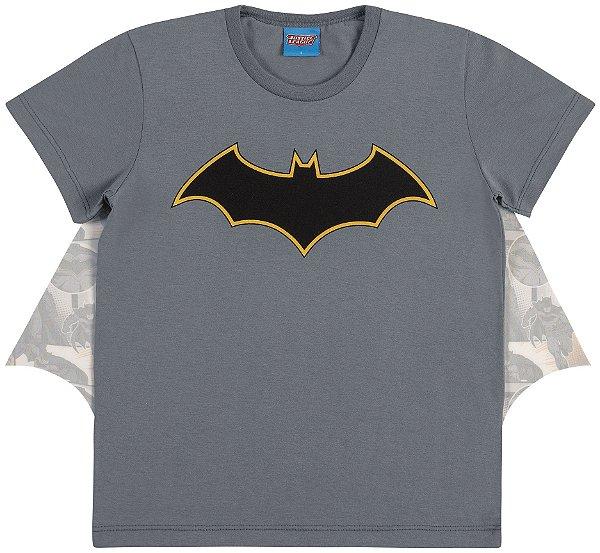 Camiseta Fantasia Batman com Capa Estampada - Liga da Justiça