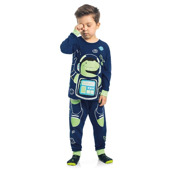 Pijama Dino Sonhador no Espaço