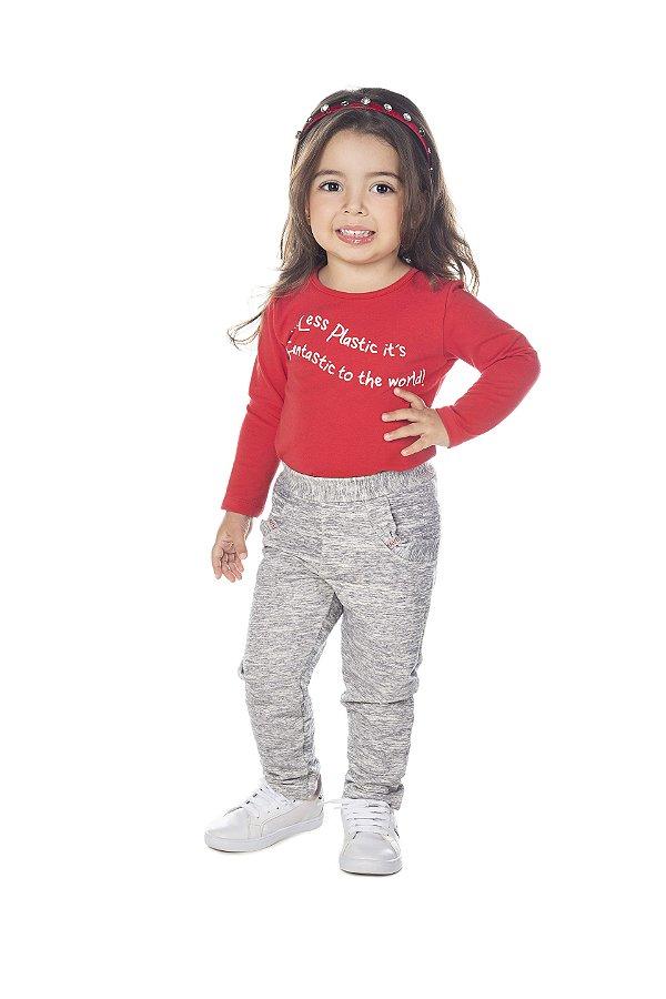 Blusa Menina M/Longa em Cotton Vermelho