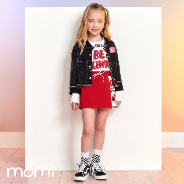 Conjunto Menina Blusa ML Be Kind e Short Saia Vermelho Momi