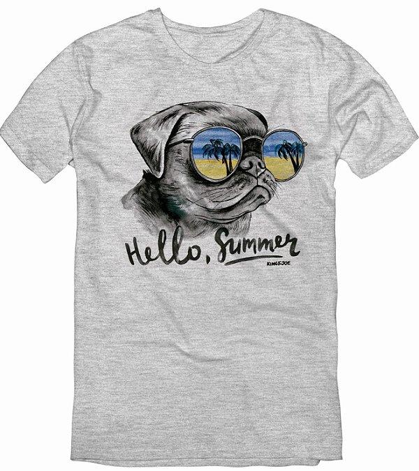 Camiseta T-shirt Masculina Bulldog Hello Summer Cinza Mescla 10 ao 16
