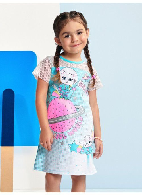 Vestido Momi Verão 2022 Estampado de Gatinho Astronauta