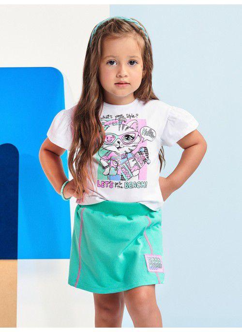 Conjunto Menina Momi Verão 2022 de Blusa Estampada e Shorts Saia