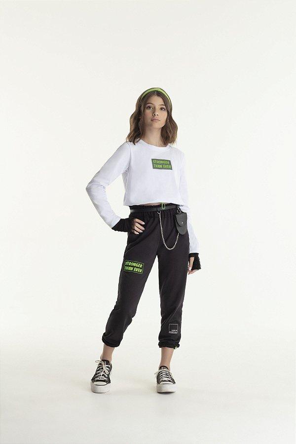 Conjunto Feminino Teen Cropped ML Branco e Calça Jogger Preto