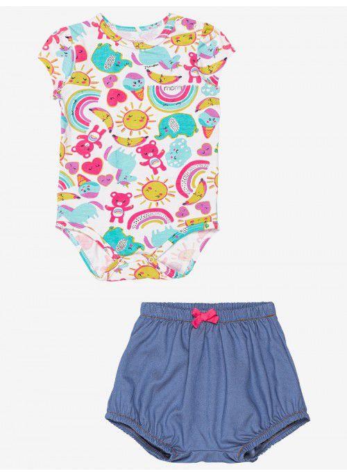 Conjunto Momi Bebê Body e Shorts Arco-Iris Verão 2022