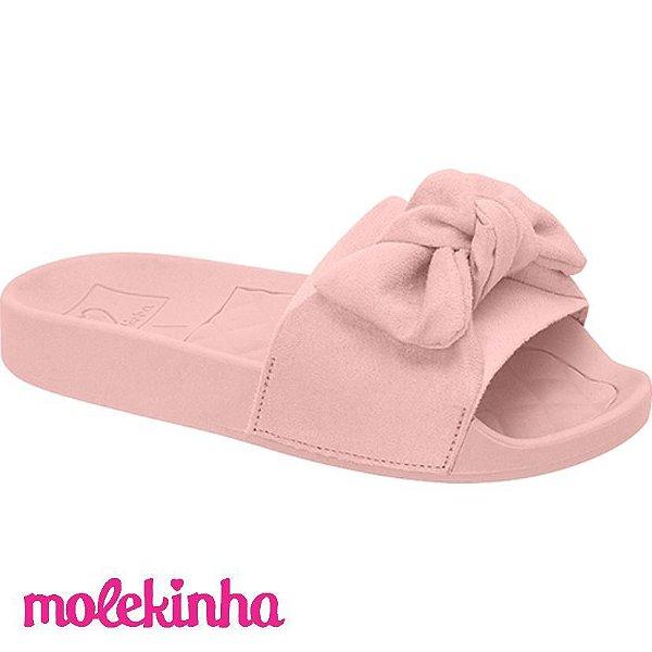 Sandália Rasteira Slide Camurça Rosa Molekinha Verão 2022