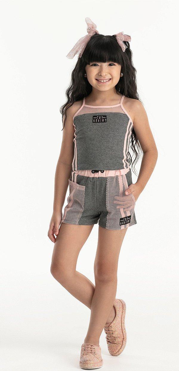 Conjunto Menina Hi Angel Verão 2022 Cropped e Shorts