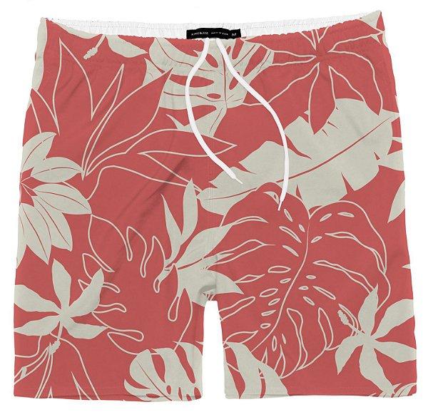 Shorts Masculino Praia Folhagem Coral King & Joe Tam 10 ao 16