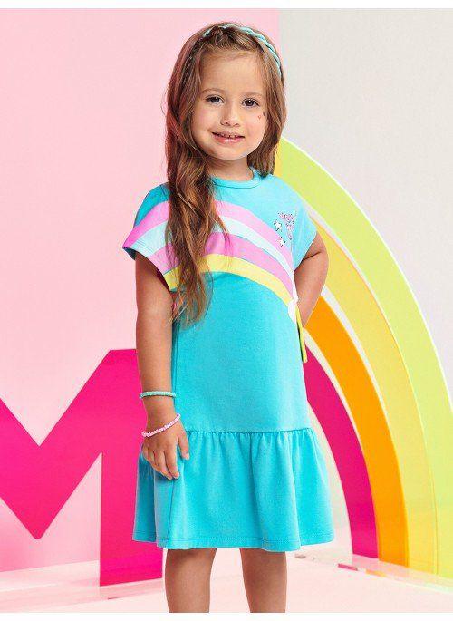 Vestido M/C Momi Verão 2022 Estampa de Arco-Iris