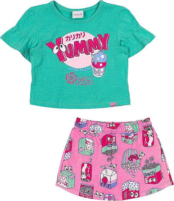 Conjunto Menina Blusa e Shorts Saia Moletinho Estampado Momi