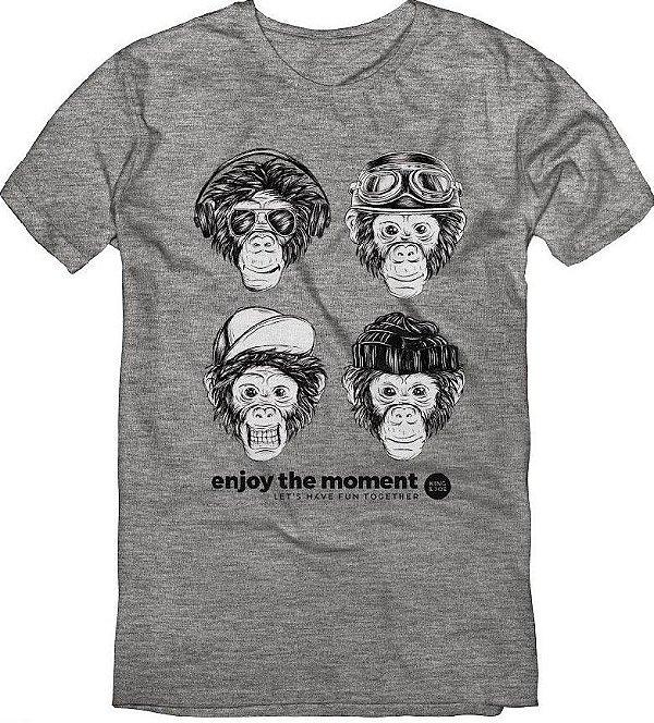 Camiseta T-Shirt Menino Monkeys Mescla 10 ao 16