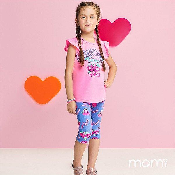 Conjunto Menina Blusa Rosa Neon e Legging Estampada Verão 2022 Momi