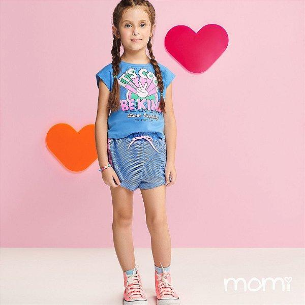 Conjunto Menina Verão 2022 Momi Blusa e Shorts Azul