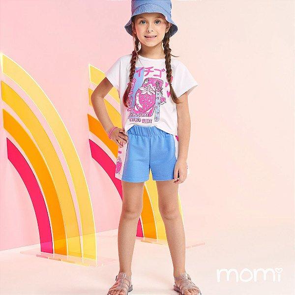 Conjunto Menina Verão 2022 Momi Blusa e Shorts Strawberry