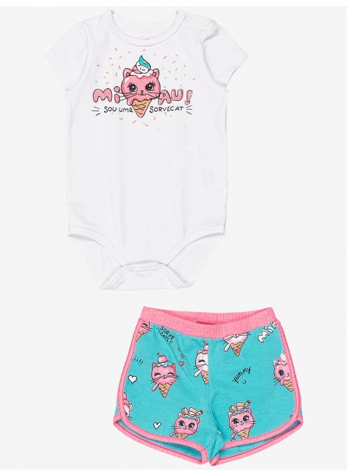 Conjunto Momi Bebê Body Miau e Short SorveCat