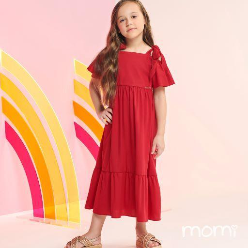 Vestido Momi Verão 2022 Liso Vermelho