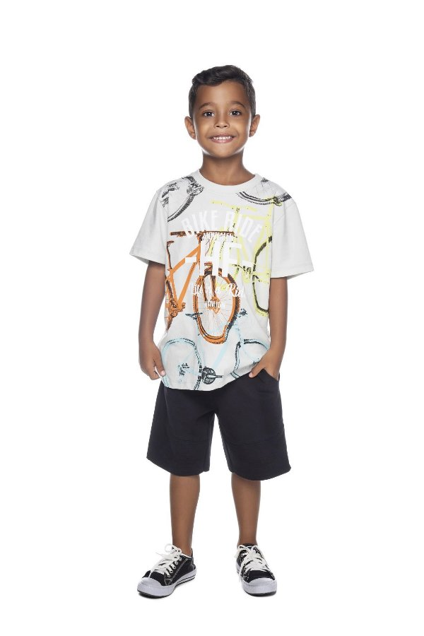 Conjunto Masculino Camiseta Estampa Bike e Bermuda Molecotton