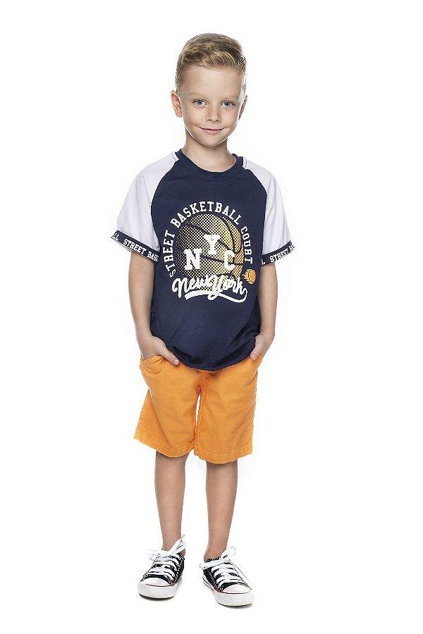 Conjunto Masculno Camiseta Basquete e Bermuda Sarja