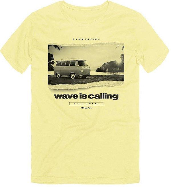 Camiseta T-Shirt Masculina Kombi Wave is Calling Amarelo 10 ao 16