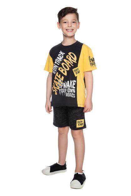 Conjunto Masculino Camiseta Skate Board e Bermuda Moletom Have Fun 10 ao 14