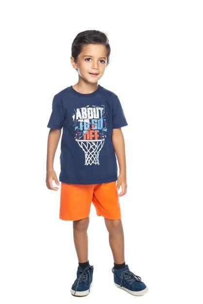 Conjunto Masculino Camiseta Marinho e Bermuda Moletom Laranja Have Fun 01 ao 03