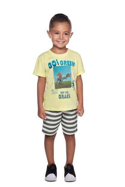 Conjunto Masculino Camiseta e Bermuda Moletom Ecologico Have Fun P ao G