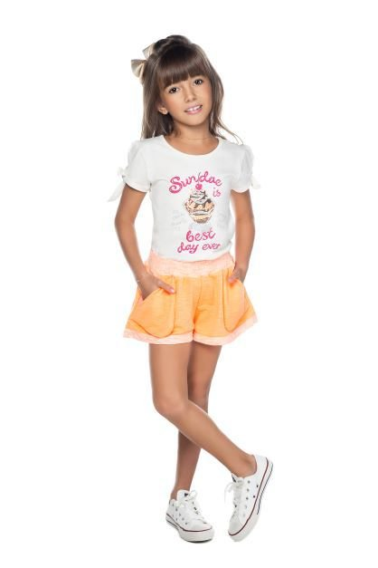 Conjunto Feminino Blusa Cotton e Shorts Moletinho Neon Have Fun 04 ao 08
