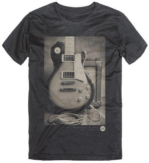 Camiseta T-Shirt Masculina Guitarra Rock Preto 10 ao 16