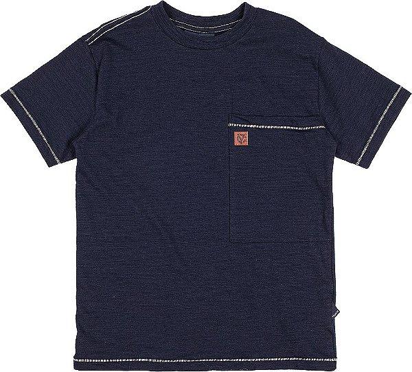 Camiseta Masculina Flame c/ Bolso Azul Marinho Youccie