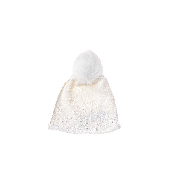 Touca Pituchinhus Tricot Cristais Pompom Off White