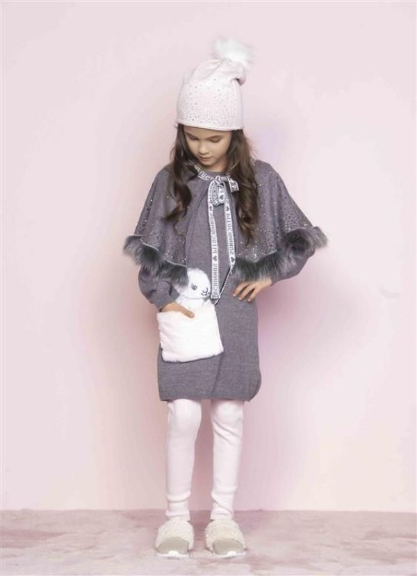 Vestido Pituchinhus Manga Longa em Tricot Bolsinha Coelha