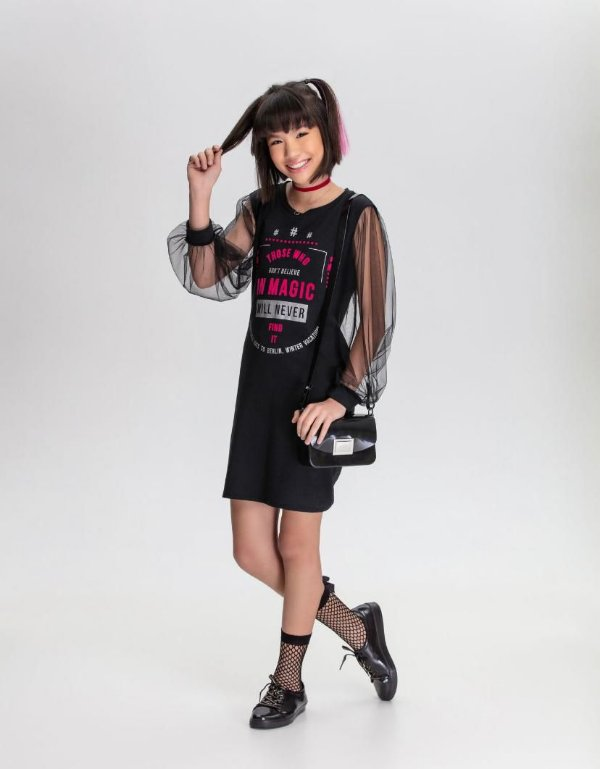 Vestido Bobbululu Manga Tule Preto Magic