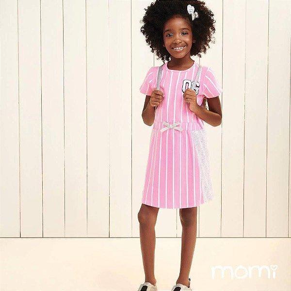 Vestido Momi Verão Listras Grandes Neon Rosa