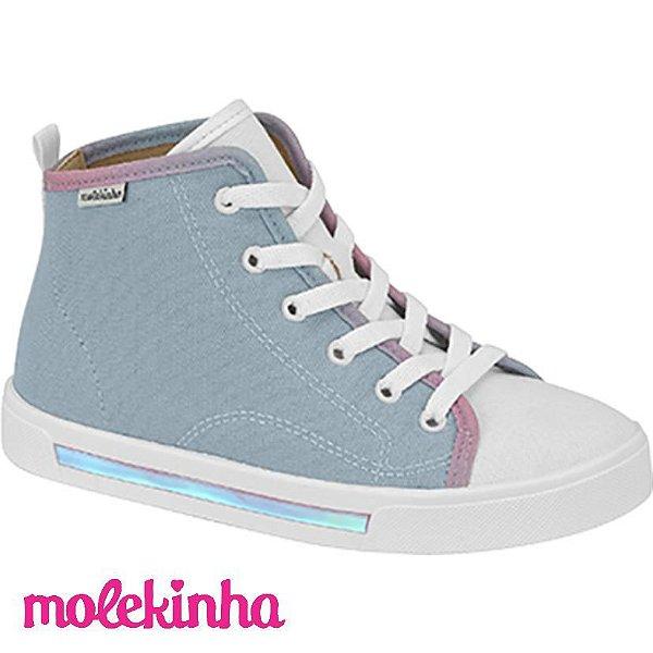 Tênis Molekinha Cano Alto Lona Jeans/Lavanda