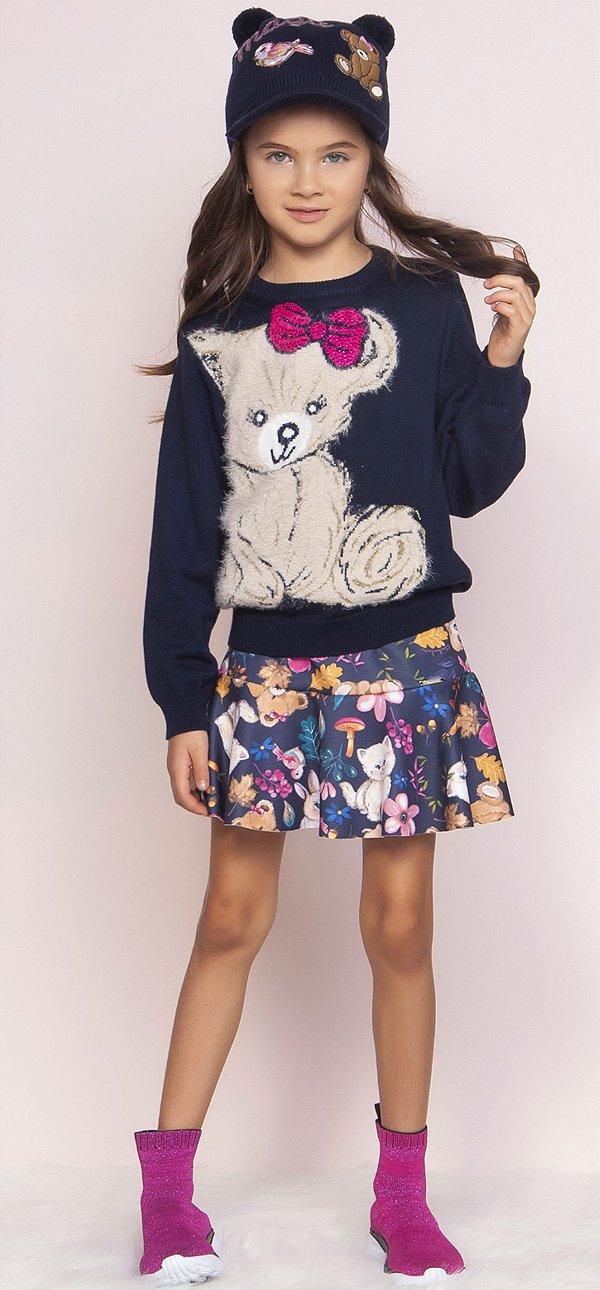 Conjunto Pituchinhus Blusa Tricot Ursinho Pelo Laco Pink e Saia Short Neoprene Bichinhos e Flores