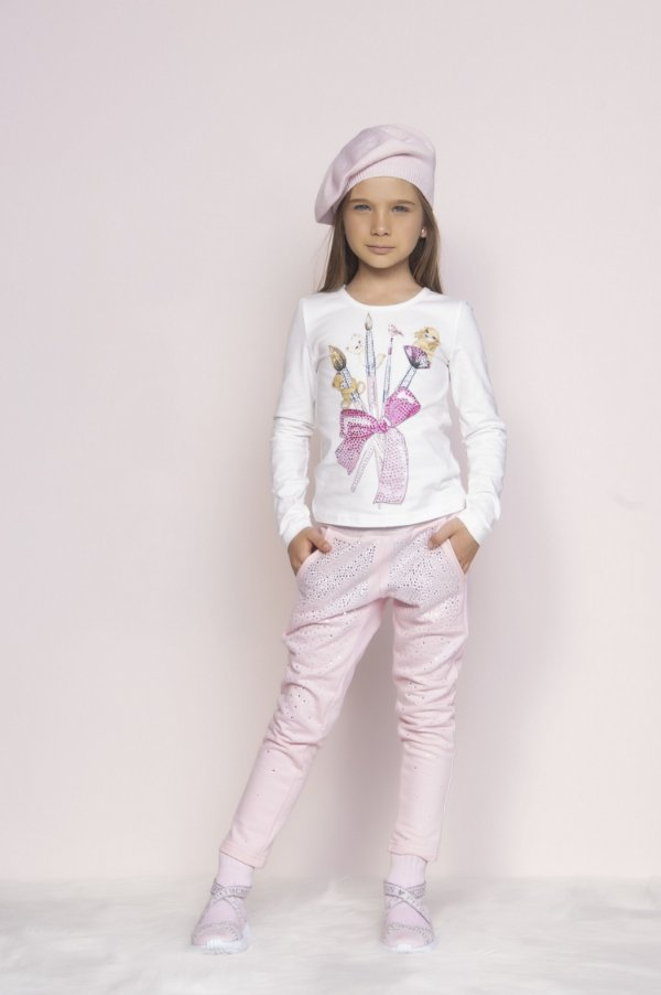 Conjunto Pituchinhus Inverno Blusa Cotton Pinceis e Calca Moletom Cristais