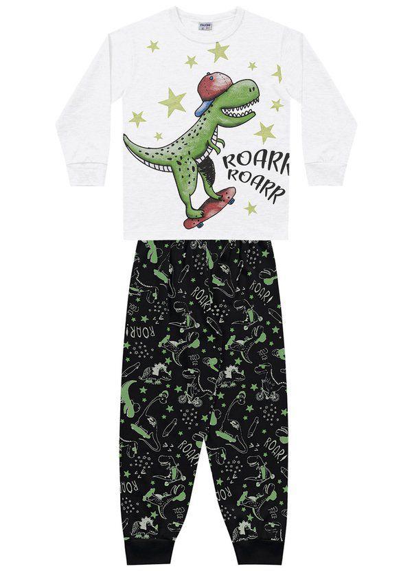 Pijama Menino Camiseta Manga Longa com Punho e Calça com Punho