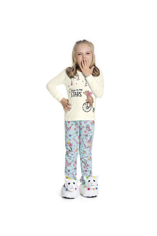 Pijama Menina Blusa Manga Longa Marfim e Calça com Punho Azul Estampada