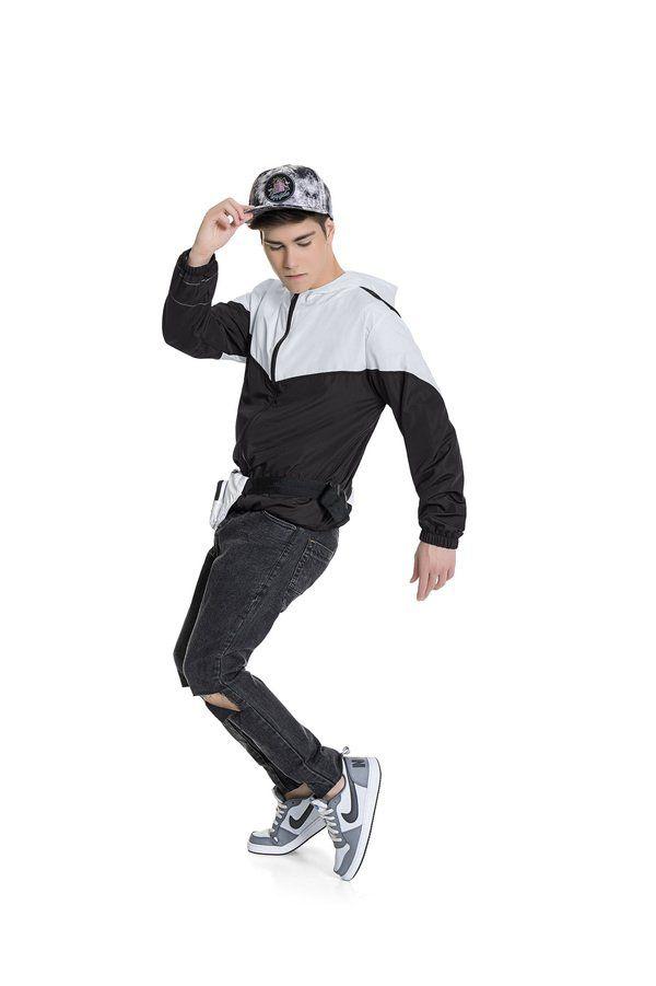 Jaqueta Masculina c/ Capuz Corta Vento Branco e Preto Fakini