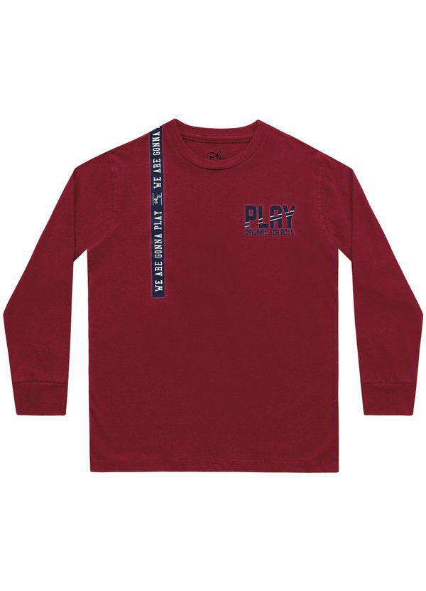 Camiseta Menino Manga Longa Vermelho Playground