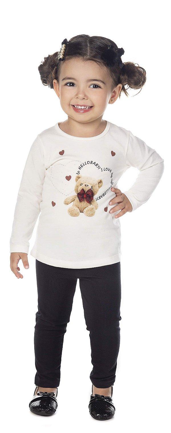 Conjunto Blusa ML Ursinho e Legging Cotton Preto