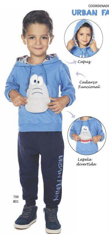 Conjunto Menino Moletom Blusão C/ Capuz Azul e Calça Marinho