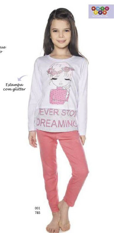 Pijama Menina Blusa ML e Calça Dreaming