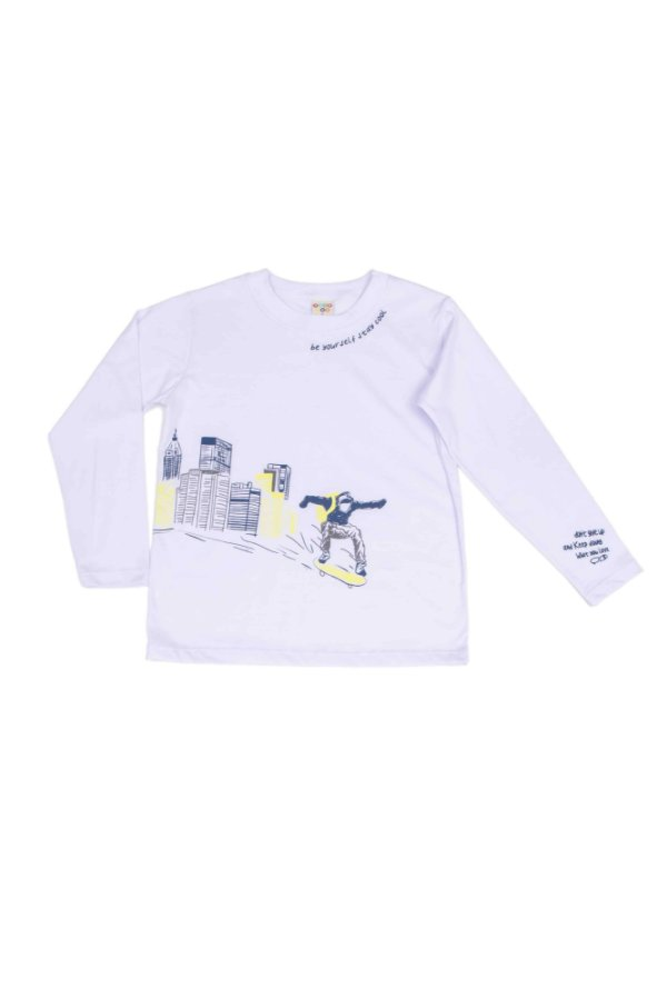 Camiseta Menino M/Longa Skate Branco