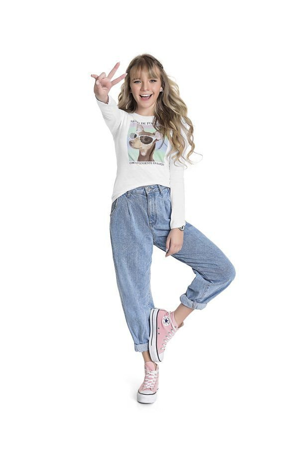 Blusa Feminina Teen M/Longa Branco