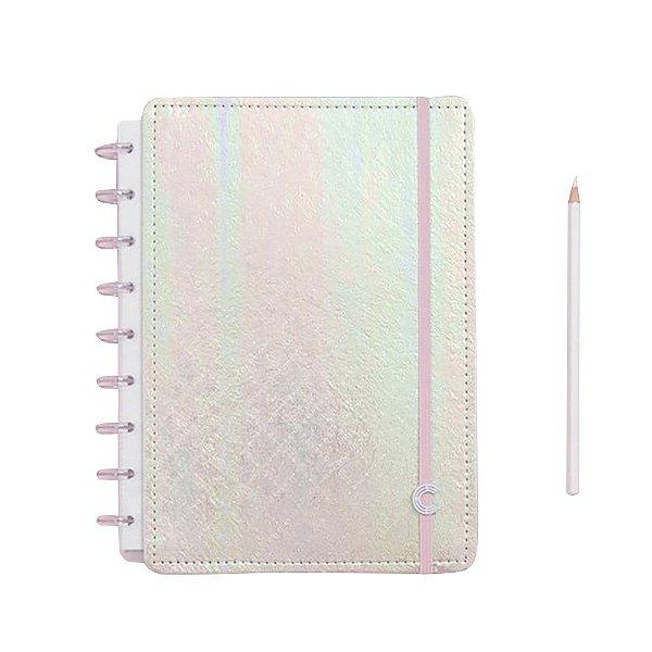Caderno Inteligente Rosa Holografico - Médio