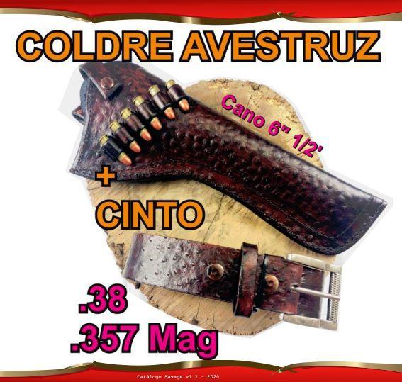 """Coldre + Cinto Couro Avestruz Revólver .38 .357 Cano 6"""" 1/2'"""